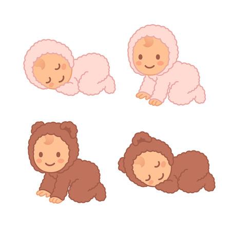 bebé de dibujos animados lindo para dormir oso difusa y rastreo. Adorable recién nacido vector conjunto de ilustración.
