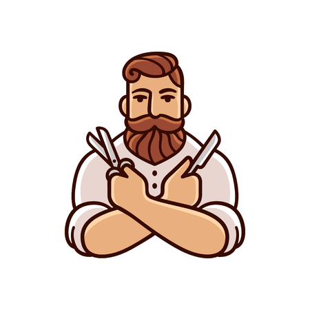 gents: Vintage Barber illustration with mustache and beard.