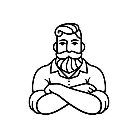 腕を持つひげを生やした男の黒と白の線の描画を渡った。スタイリッシュなヒップスターの図。  イラスト・ベクター素材