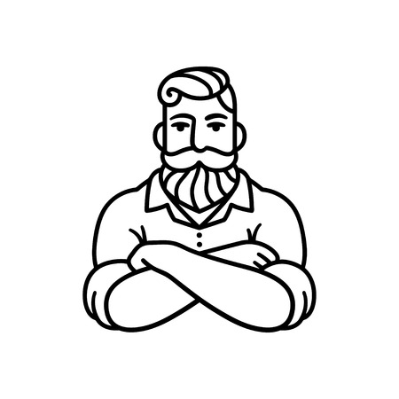 Black and white line drawing of bearded man with arms crossed. Stylish hipster  illustration.