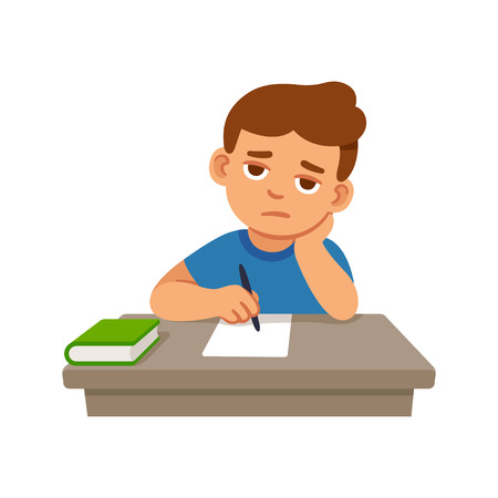 Bored kid doing homework or sitting on boring school lesson. Cute cartoon vector illustration.