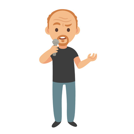 Middle aged stand up comedian or talk show host, isolated vector cartoon character illustration.