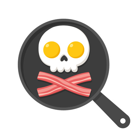 Fried eggs and bacon on skillet in shape of skull and bones, pirate breakfast illustration.