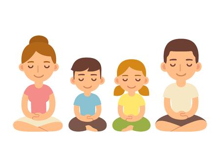 Familia meditando sentado en postura de loto, adultos jóvenes y niños. Ilustración de estilo de vida de meditación y mindfullness de dibujos animados lindo. Ilustración de vector