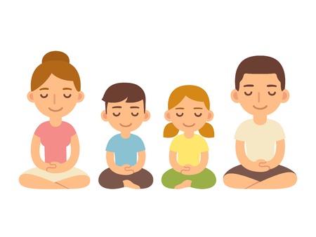 healthy woman: Family meditating sitting in lotus pose, young adults and children. Cute cartoon meditation and mindfullness lifestyle illustration.