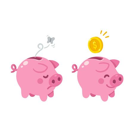 Cute cartoon piggy bank illustration. Sad empty and happy with money.