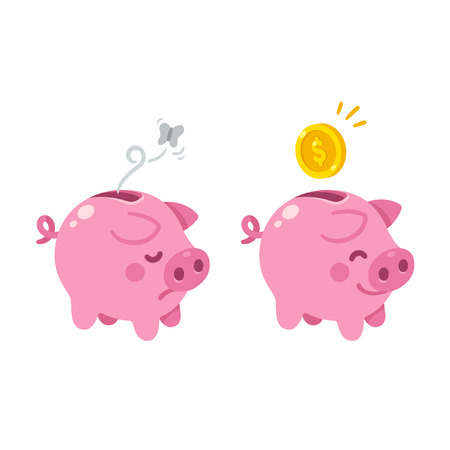 Cute cartoon piggy bank illustration. Sad empty and happy with money.