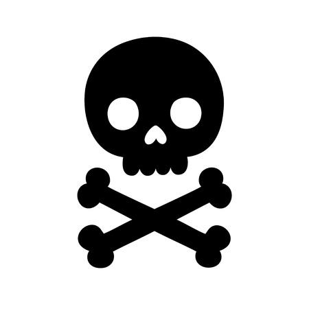quick drawing: Cartoon skull and bones silhouette. Isolated vector illustration. Illustration