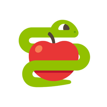 Snake with apple. Biblical Evil, temptation and tree of knowledge concept. Simple cartoon vector illustration.