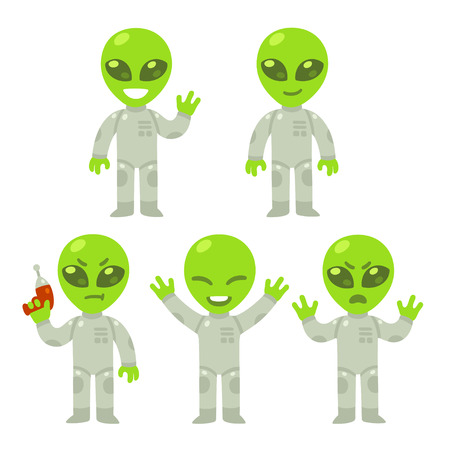 invade: Cute cartoon alien set. Little green alien with different poses and expressions. Isolated vector illustration.