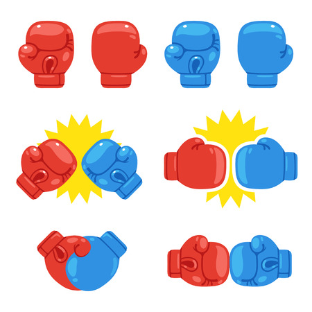 Cartoon red and blue boxing gloves set. Match opponents icons. Isolated vector illustration.