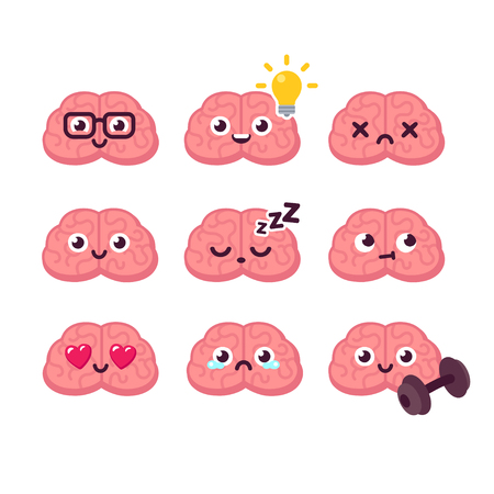 Cute cartoon brain emoticons set. Illustration