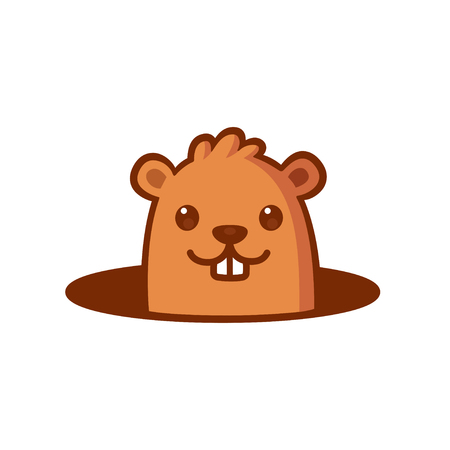 Cute cartoon marmot looking from hole in ground. Groundhog Day isolated vector illustration. Illustration
