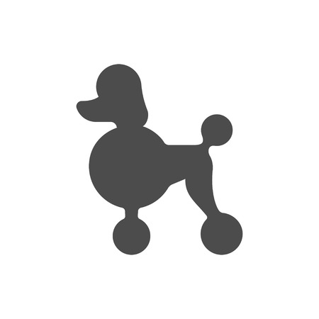canine: Poodle dog profile silhouette. Simple minimal icon or logo, vector illustration