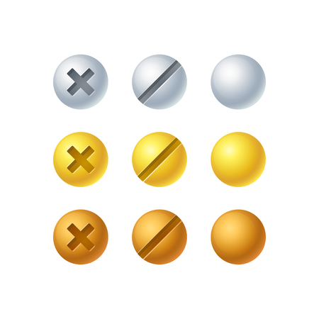 Isolated screw set in 3 colors - silver, gold and bronze. Vector design elements, shiny metallic buttons.