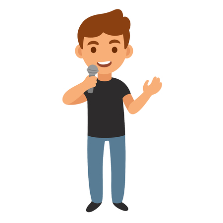 live stream tv: Young man with microphone, news reporter or show host. Cartoon vector illustration.