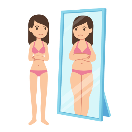 Thin girl looking fat in mirror. Eating disorder illustration, body perception and dysmorphia concept.