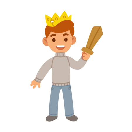 Little boy with toy wooden sword and paper crown, cute prince costume. Cartoon vector illustration.