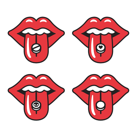 sexy tongue: Cartoon red lips with different pills on tongue. Young woman taking drugs. Extasy, MDMA recreational drug vector illustration. Illustration