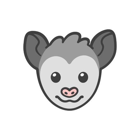 possum: Cute cartoon smiling possum head, funny animal drawing.
