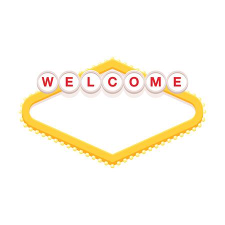 Blank retro welcome sign vector illustration. Illustration