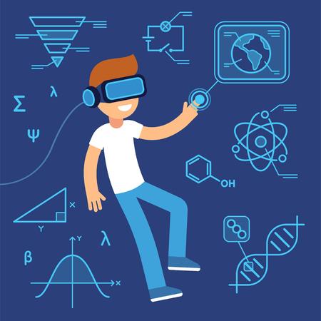 L'utilisation de la réalité virtuelle dans l'apprentissage, l'avenir de l'éducation. Garçon avec un casque VR entouré d'informations, d'équations scientifiques et de données. Illustration de vecteur de dessin animé plat.
