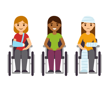 paralysis: Young women in wheelchairs set, cartoon vector illustration. Injury and disability concept, rehabilitation from accident.
