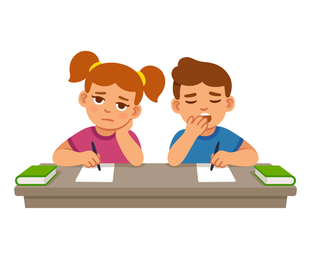 Bored kids at school lesson, boy and girl. Cute cartoon vector illustration.