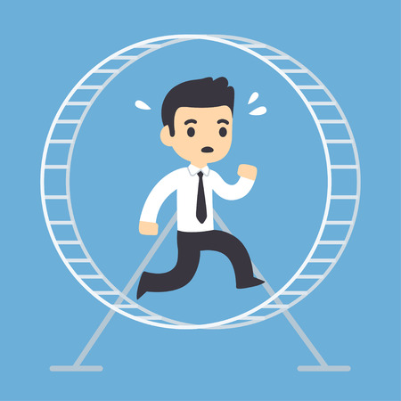 Stressed businessman running in hamster wheel. Rat race concept vector illustration.