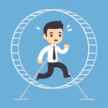 Stressed businessman running in hamster wheel. Rat race concept vector illustration.