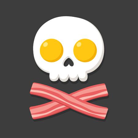 Bandiera pirata fatta di uova fritte e pancetta come teschio e crossbones. Cartoon illustrazione vettoriale cibo per la colazione.