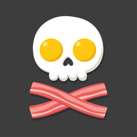 Pirate flag made of fried eggs and bacon as skull and crossbones. Cartoon breakfast food vector illustration. Illustration