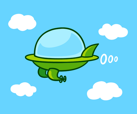 jets: Cute cartoon futuristic flying car in sky. Green UFO shaped aircraft, vector illustration.