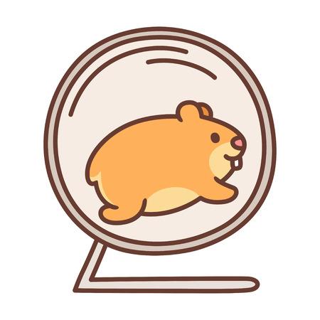 Leuke cartoon hamster die in hamsterwiel loopt. Vector huisdier illustratie.