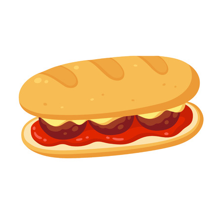 Sub sandwich with meatballs, cheese and tomato marinara sauce. Vector clipart ilustration.