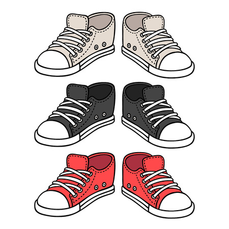 Sneakers drawing set. Black, red and white traditional sport shoes. Sketch doodle style vector illustration. Ilustração