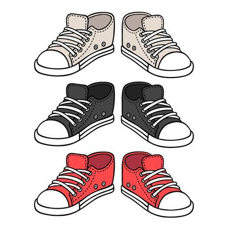 Sneakers tekening set. Zwarte, rode en witte traditionele sportschoenen. Schets doodle stijl vectorillustratie. Stock Illustratie