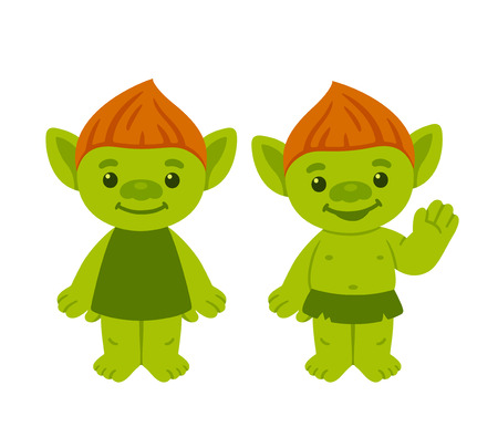 Cute cartoon troll or goblin couple. Childrens fairy tale characters vector illustration.