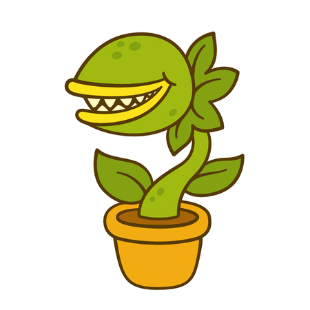 Cartoon monster plant drawing. Evil carnivorous plant with teeth in flower pot. Vector illustration. Ilustração