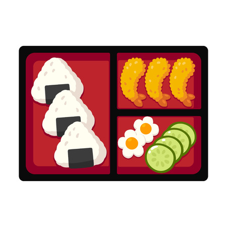 Traditional Japanese bento box lunch with rice onigiri and tempura shrimp, cucumber and egg. Vector illustration. Illustration