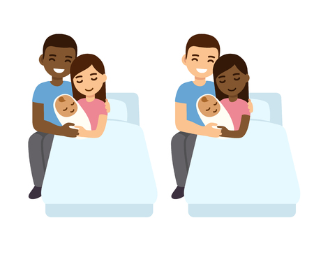 Interracial couple with newborn biracial baby in hospital bed. Vettoriali