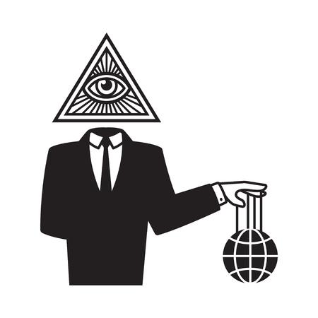 Iluminati conspiracy theory illustration. Hombre en traje negro con todo el símbolo del ojo que sostiene el mundo en cadenas. Foto de archivo - 74793040