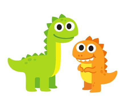 Two cute cartoon dinosaurs vector illustration. Happy dinosaur friends drawing.