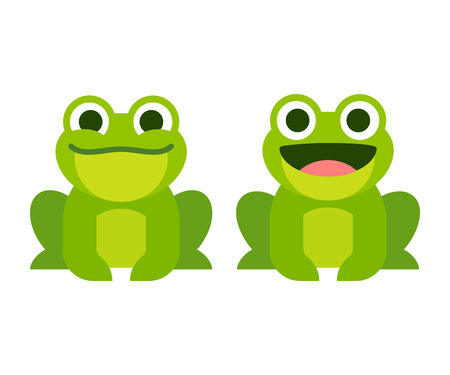 thrilled: Cute cartoon frog set, smiling and croaking animation frames. Simple flat style vector illustration. Illustration