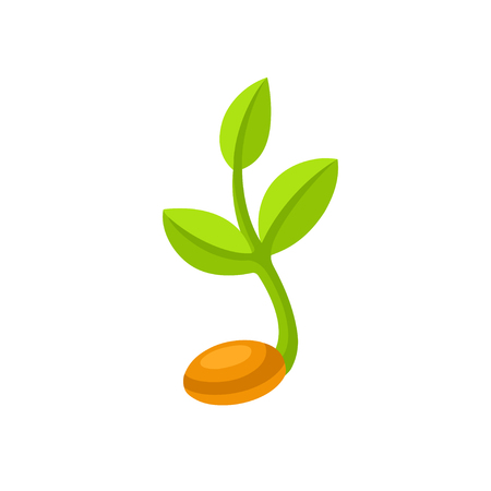 Simple sprouting seed illustration. Green cartoon sprout vector icon or logo.