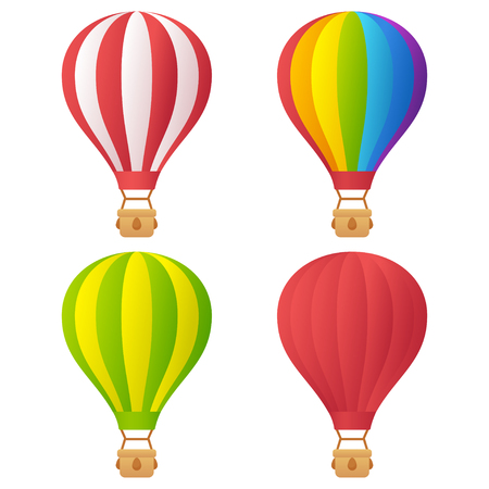 balloon cartoon: Hot air balloons set, different colors and patterns, isolated on white background. Bright cartoon vector illustration.