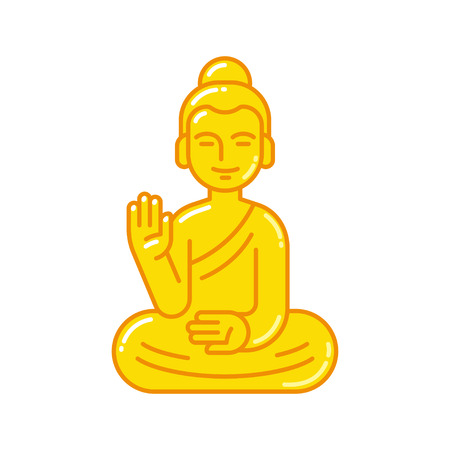 Golden Buddha statue with raised hand. Simple flat vector style icon. Buddhism religion symbol. Illustration
