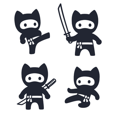 Cute cartoon ninja cat set. Adorable vector black and white drawings in simple modern Japanese style.