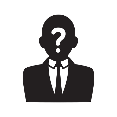 man: Anonymous user icon, black silhouette of man in business suit with question mark on face. Profile picture vector illustration.