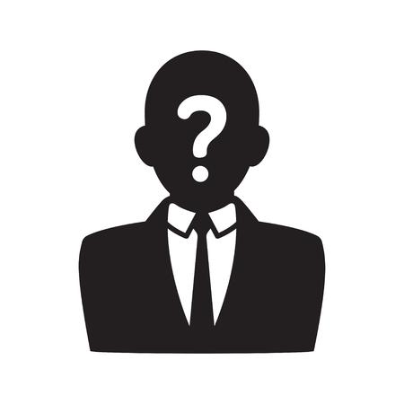 silueta hombre: Icono de usuario anónimo, silueta negra del hombre en traje de negocios con signo de interrogación en la cara. Foto del perfil ilustración vectorial.